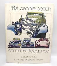 31st Galet Plage Concours 1981 Poster Imprimé Cadillac Auburn Bugatti Ferrari