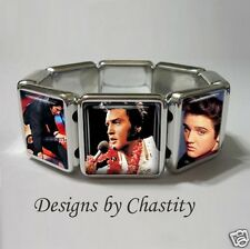 Elvis Presley Bracelet Stretch VTG Altered Art Charm Music King of Rock N Roll