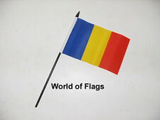"ROMANIA SMALL HAND WAVING FLAG 6"" x 4"" Romanian Table Desk Crafts Display"