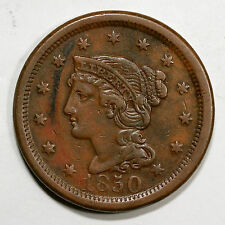 1850 N-27 R-4 Braided Hair Large Cent Coin 1c
