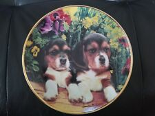 """""""Puppies And Posies"""" by Larry Grant. Franklin Mint limited edition collector."""
