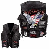 Gilet Jacket en Cuir Aigle Live To Ride Route 66 - Bikers country grande taille
