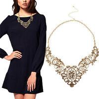 Women Vintage Collar Chain Necklace Bronze Lace Carving Flower Choker Necklace.