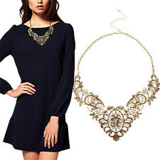 Women Vintage Collar Chain Necklace Bronze Lace Carving Flower Choker Necklaceev
