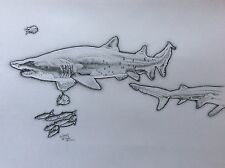 MADE ENTIRELY OF DOTS! Shark Art Original Signed pen & Ink Drawing animal A3