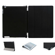Black Pu Leather Smart Cover and Hard Back Case for Apple iPad 4 3 2