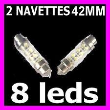 PAIRE AMPOULE LAMPE NAVETTES FEU A 8 LED C5W 42 MM FEUX BLANC BLANCHE XENON 12V