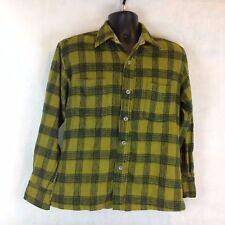 True Vintage Wool Plaid Shirt M L Green Button Up Down Work Wear Warm 2 Pocket