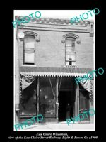 OLD LARGE HISTORIC PHOTO OF EAU CLAIRE WISCONSIN THE STREET RAILWAY OFFICE 1900