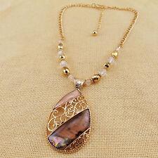 "15"" New KC Pendant Beads Chain Necklace Women Jewelry Fashion Gold Tone Abalone"