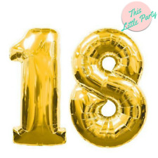 18th Gold Balloons Birthday Party 18 Helium Numbers 100cm Giant Foil Decorations
