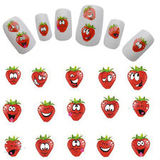 2 Pcs Water Transfer Nail Art Stickers Strawberry DIY Nail Wrap Manicure Decals