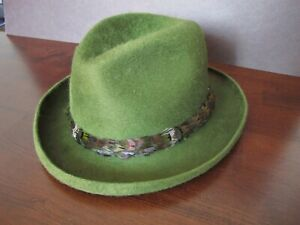 RARE! Vintage Green Fur Knox Americana Homburg Hat Feather Band St Patrick's Day