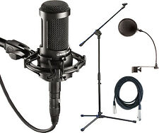 Audio Technica AT2035 Condenser Microphone Bundle with Stand, Cable, Filter