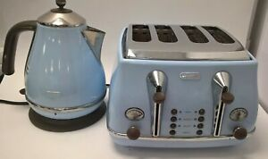 De'Longhi Iconica Kettle And Toaster Set In Light Sky Blue And Brown Colour #127