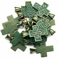 12Pcs Newest Carved Brass Bronze Cross Pendant Bead 37x25x6mm