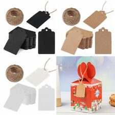 100pcs Packaging Label DIY Kraft Paper Tag Brown/Black/White Party Gift Cards