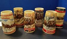 Vintage Set of 6 Budweiser Holiday Clydesdale Steins 1985, 86, 87, 88, 89 & 90