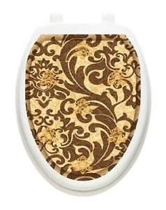 Toilet Tattoos Toilet Lid Cover TUSCANY FILIGREE Vinyl Cover Removable Reusable