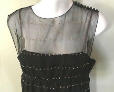 PAULINE TRIGERE_60s Vintage Black Sexy Sheer Evening Dress  Small
