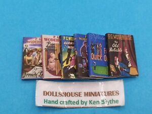 1:12 Scale Book , 6 x P.G Woodhouse Novels, Crafted by Ken Blythe