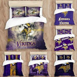 Minnesota Vikings Bedding Set 3PCS Duvet Cover Pillowcases Twin Full Queen King