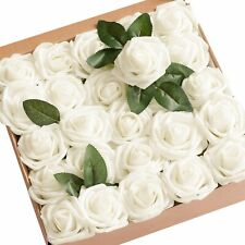 Ling's Moment Real Looking Roses for Decoration DIY Home Wedding, Set of 25pcs