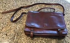Napoleoni Made In Italy Brown Leather Messenger  Bag Briefcase Crossbody Laptop