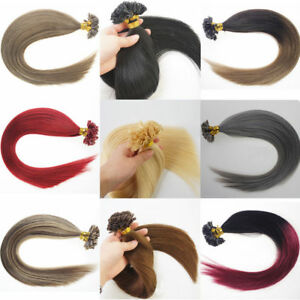 U Nail Tip Fusion Keratin Remy Human Hair Extensions Ombre 8A 16-26Inch Straight