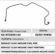 Renault Clio - Kangoo - Megane - Scenic Fuel Pipe 8200199856