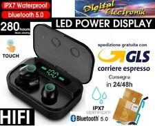 AURICOLARI BLUETOOTH SPORT SENZA FILI Cuffie Wireless powerbank Audio UNIVERSALI