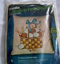 New Bucilla All Your Eggs In A Basket Farm Chicken Crewel Pillow Kit #2031