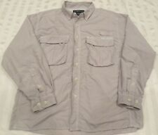 ExOfficio L/S Button Front Beige Vented Outdoors Fishing Shirt Mens Size Medium