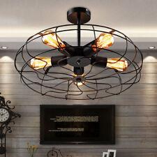 Metal Fan Cage Pendant Lamp Mount Ceiling Light Industrial Chandelier Rustic