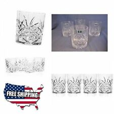 Godinger 4 Vintage Crystal Double Old Fashioned Whiskey Glasses Set MADE IN USA
