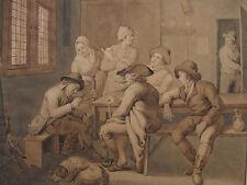 H. J. VAN AMEROM `INTERIEURSZENE; GENRE´ FEDER IN BRAUN LAVIERT, SIGNIERT 1800