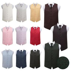 DQT High Quality Swirl Men's Wedding Waistcoat Vest with Cravat & Hanky Set
