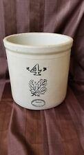 Old Vintage Western Stoneware Company 4 Gallon Crock Jar Maple Leaf
