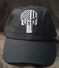 Punisher Silver lines SWAT Baseball Cap Solid Black Cotton U.S.A. flag hat