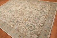 Old Hand Made Traditional Persian Afgani Design Beige Wool  Area Rug  & Carpet