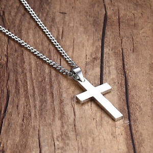 Men's Stainless Steel Necklace Cross Rope Chain with Pendant NEW USA