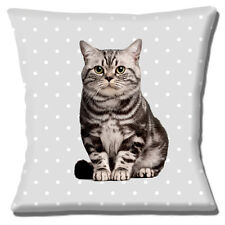 """NEW CUTE PET GREY CAT ON PALE GREY WITH WHITE POLKA DOT 16"""" Pillow Cushion Cover"""