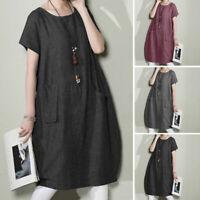 ZANZEA Women Vintage Summer Short Sleeve T-Shirt Dress Midi Dress Plus Sundress