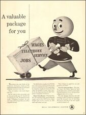 1950 vintage AD BELL TELEPHONE Cartoon Telephone Man Crate of wages, jobs 040317