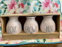 "Rae Dunn By Magenta - LL LOVE GROWS HERE - Set Of 3 Pink Vases - 4""H"