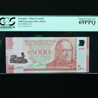 2011 Paraguay 5000 Guaranies, Pick # 234, PCGS 69 PPQ Superb Gem New, High Grade