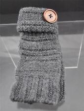 New Light Gray Knit Texting Fingerless Gloves Button Trim B12