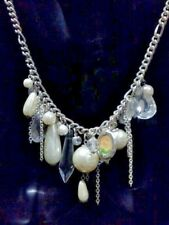 VINTAGE DIVA IMITATION CRYSTAL & PEARL CHARM SILVER TONE NECKLACE