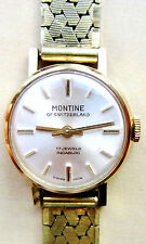 Vintage Swiss Ladies Gold Plated Montine of Switzerland 17J Mech Bracelet Watch