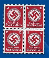 NAZI GERMANY 12 Pf POST OFFICE 3rd Third Reich Swastika postage stamp block MNH